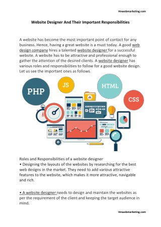 Website Designer And Their Important Responsibilities