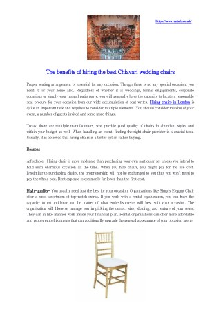 Reasons for hiring Chairs in London