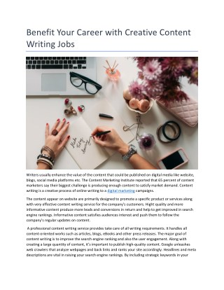 Benefit Your Career with Creative Content Writing Jobs