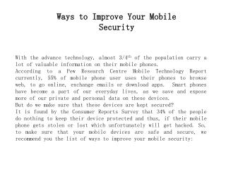 Ways to Improve Your Mobile Security