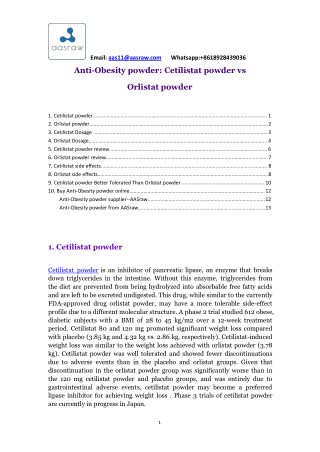 Anti-Obesity Powder: Cetilistat Powder vs Orlistat Powder - AAS