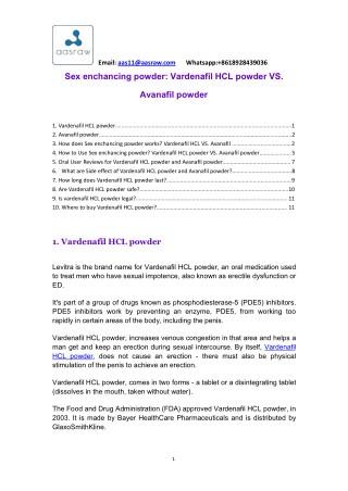 Sex Enchancing Powder: Vardenafil HCL powder VS. Avanafil Powder - AASraw