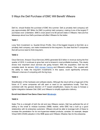 5 Ways the Dell Purchase of EMC Will Benefit VMware