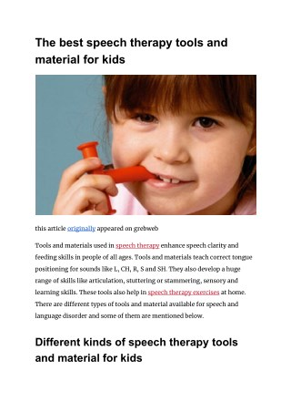 The best speech therapy tools and material for kids