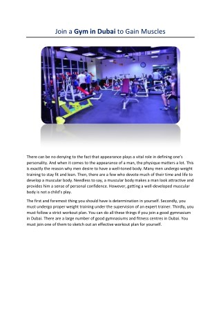 Build your body in a gym in Dubai