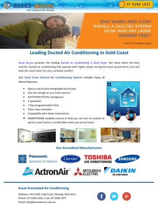 Leading Ducted Air Conditioning in Gold Coast