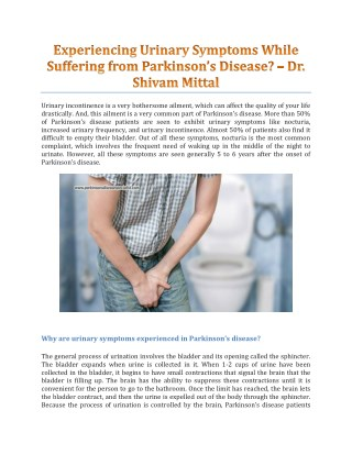 Experiencing Urinary Symptoms While Suffering from Parkinson's Disease? - Dr. Shivam Mittal