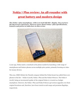 Nokia 7 Plus review: An all-rounder with great battery and modern design