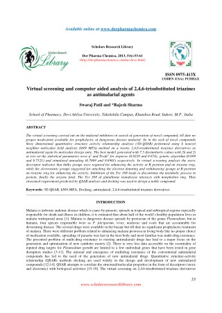 Virtual screening and computer aided analysis of 2,4,6-trisubstituted triazines as antimalarial agents