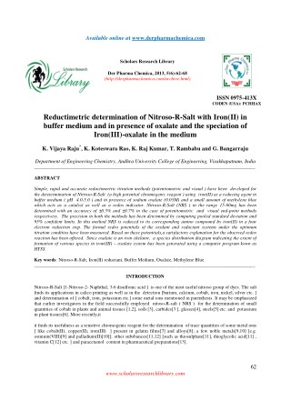 Reductimetric determination of Nitroso-R-Salt with Iron(II) in buffer medium and in presence of oxalate and the speciati
