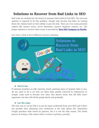 Solutions to Recover from Bad Links in SEO