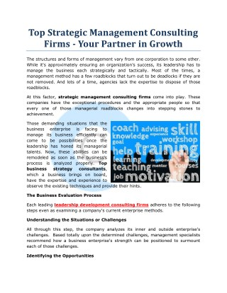 Top Strategic Management Consulting Firms - Your Partner in Growth