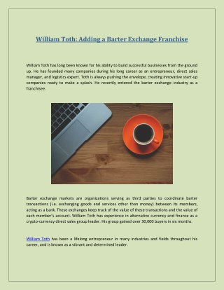 William Toth Adding a Barter Exchange Franchise
