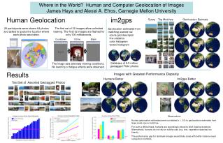 Where in the World  Human and Computer Geolocation of Images  James Hays and Alexei A. Efros, Carnegie Mellon University