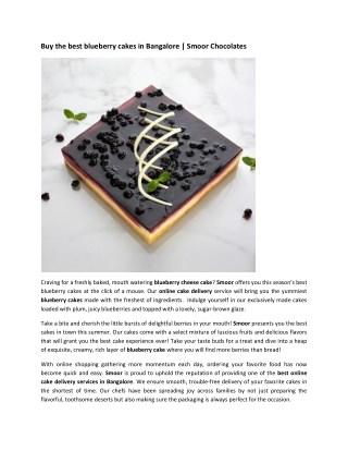 Birthday and Wedding Cakes online bangalore   Buy Blueberry Cheese Cake Online   Smoor Chocolates