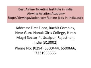 Best Airline Ticketing Institute in India Airwing Aviation Academy
