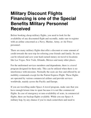 Military Discount Flights Financing is one of the Special Benefits Military Personnel Received