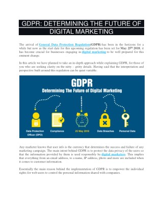 GDPR: DETERMINING THE FUTURE OF DIGITAL MARKETING