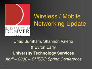 Wireless / Mobile Networking Update