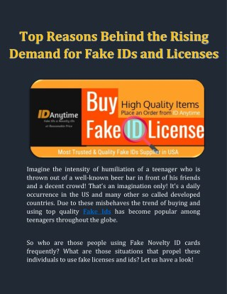 Buy Fake Ids and Licenses at Reasonable Prices From ID Anytime