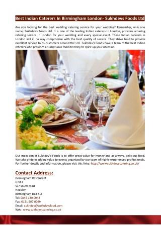 Best Indian Caterers In Birmingham London- Sukhdevs Foods Ltd