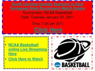 Watch South Carolina Upstate Spartans vs East Tennessee Stat