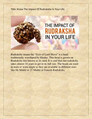 Know The Impact Of Rudraksha In Your Life