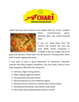 Takeaway and Restaurant in Annacoty, Limerick - www.achari.ie
