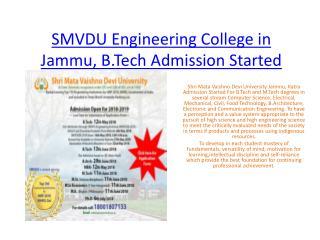 SMVDU Engineering College in Jammu. B.Tech Admission Started