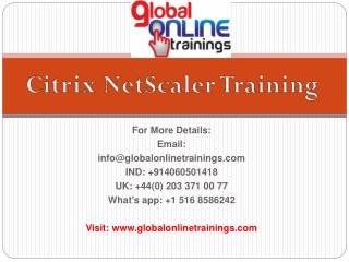 Citrix NetScaler Training | Citrix NetScaler 12.x Online Training