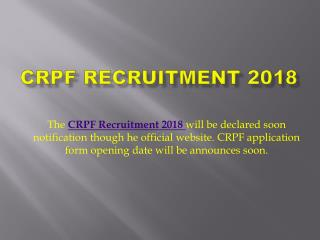 CRPF Recruitment 2018