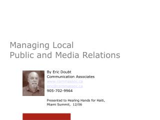 Managing Local  Public and Media Relations