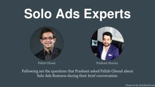 Solo Ads Expert Interview: Pallab Ghosal