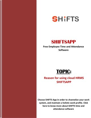 Reason for using cloud HRMS - SHIFTSAPP