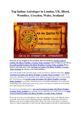 Top Indian Astrologer in London, UK, Ilford, Wembley, Croydon, Wales, Scotland