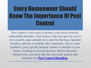 Every Homeowner Should Know The Importance Of Pest Control