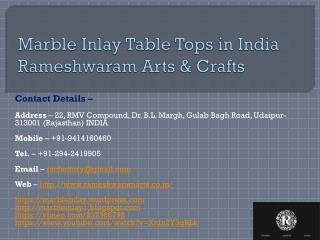 Marble Inlay Table Tops in India Rameshwaram Arts & Crafts