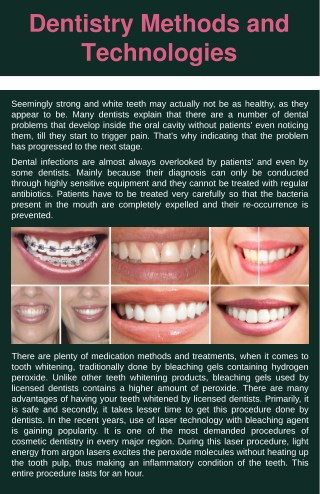 Dentistry Methods and Technologies