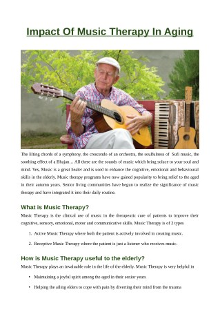 Impact of Music Therapy in Aging