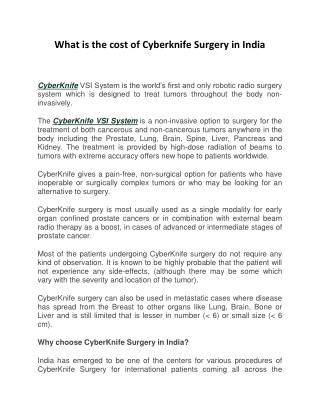 What is the Cost of Cyberknife in India