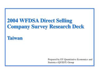 2004 WFDSA Direct Selling Company Survey Research Deck Taiwan