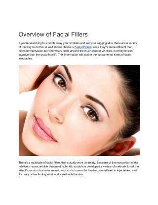 Overview of Facial Fillers
