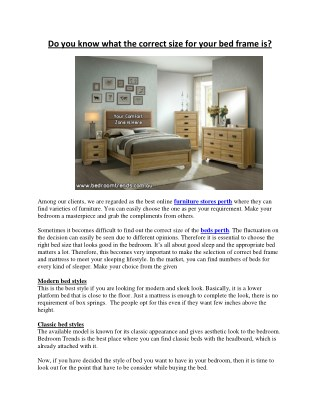 Do you know what the correct size for your bed frame is?