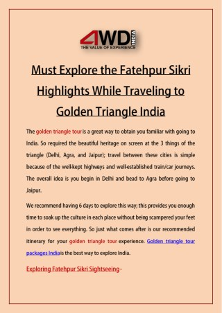 Must Explore the Fatehpur Sikri Highlights While Traveling to Golden Triangle India