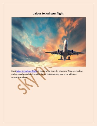 jaipur to jodhpur flight