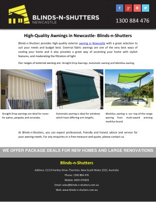High-Quality Awnings in Newcastle- Blinds-n-Shutters
