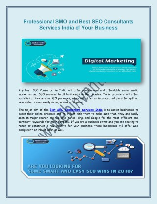 Professional SMO and Best SEO Consultants Services India of Your Business