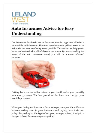 Auto Insurance Advice for Easy Understanding