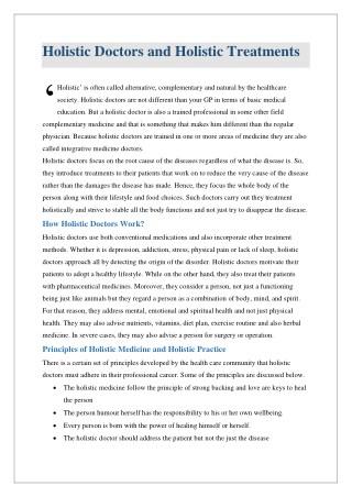 Holistic Doctors and Holistic Treatments