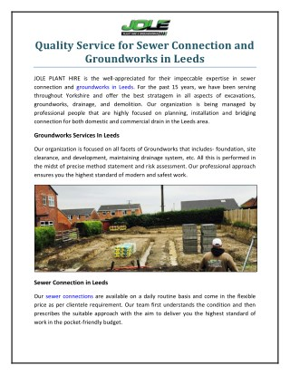 Quality Service For Sewer Connection and Groundworks In Leeds